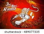 lord rama in happy dussehra... | Shutterstock .eps vector #489077335