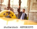 a handsome young businessman... | Shutterstock . vector #489083395