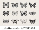 set of butterflies. vector... | Shutterstock .eps vector #489085534