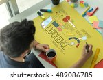 internet user knowledge... | Shutterstock . vector #489086785