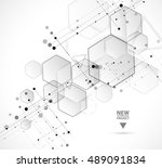 abstract hexagon background.... | Shutterstock .eps vector #489091834