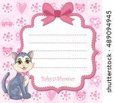 baby shower invitation for girl ... | Shutterstock .eps vector #489094945