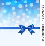 royal blue silky bow and ribbon ... | Shutterstock .eps vector #489096499