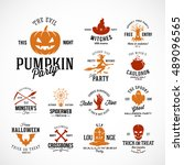 vintage halloween vector badges ... | Shutterstock .eps vector #489096565