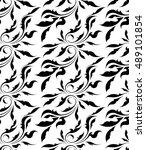 vector black and white seamless ... | Shutterstock .eps vector #489101854