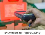box of goods was scanned by... | Shutterstock . vector #489102349