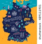 illustrated map of germany | Shutterstock .eps vector #489111901