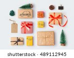 christmas gift boxes collection ... | Shutterstock . vector #489112945