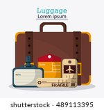 bags of baggage and luggage... | Shutterstock .eps vector #489113395