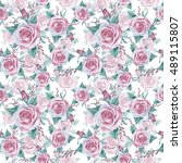 wildflower rose flower pattern... | Shutterstock . vector #489115807
