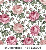 roses. seamless classic pattern....   Shutterstock .eps vector #489116005