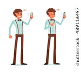 man taking a selfie  | Shutterstock .eps vector #489116497