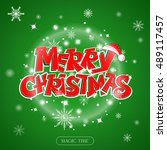 merry christmas hand drawn... | Shutterstock .eps vector #489117457