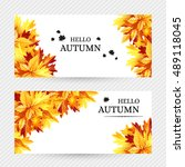 autumn background with fall... | Shutterstock .eps vector #489118045