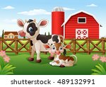cartoon cow and calf with farm... | Shutterstock .eps vector #489132991