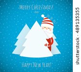 christmas background with santa ... | Shutterstock .eps vector #489135355