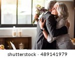 happy elderly couple... | Shutterstock . vector #489141979