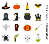 halloween icons set in flat... | Shutterstock .eps vector #489145411
