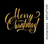 gold merry christmas card.... | Shutterstock .eps vector #489147145