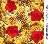 seamless pattern with flowers.... | Shutterstock . vector #489147151