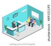 isometric interior of reception.... | Shutterstock .eps vector #489151195