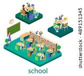 isometric interior of school....   Shutterstock .eps vector #489151345