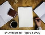table write hand office view | Shutterstock . vector #489151909