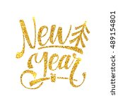 gold happy new year card.... | Shutterstock .eps vector #489154801