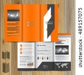 orange brochure template design ... | Shutterstock .eps vector #489157075