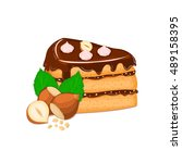 piece of cake with nuts. vector ... | Shutterstock .eps vector #489158395