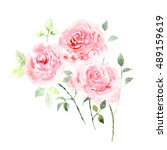 greeting card with roses.... | Shutterstock . vector #489159619