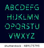 emerald neon light glowing... | Shutterstock .eps vector #489175795