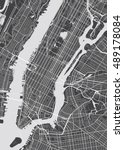 vector detailed map new york | Shutterstock .eps vector #489178084