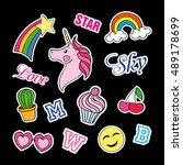 fashion patch badges with... | Shutterstock . vector #489178699