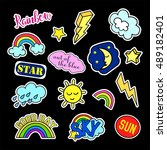 fashion patch badges. sky set.... | Shutterstock . vector #489182401