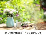 flowers with vintage pot and... | Shutterstock . vector #489184705