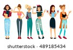 vector people set with... | Shutterstock .eps vector #489185434