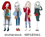 fashion model set with... | Shutterstock .eps vector #489185461