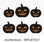 halloween pumpkins isolated... | Shutterstock .eps vector #489187417
