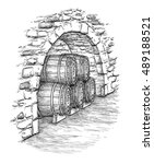 ancient cellar with wine wooden ... | Shutterstock .eps vector #489188521