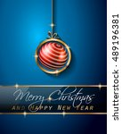 christmas vintage classic... | Shutterstock .eps vector #489196381