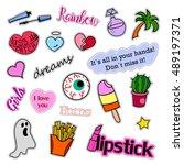 fashion patch badges. big set.... | Shutterstock . vector #489197371