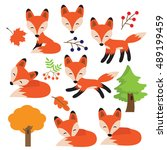 cartoon fox vector illustration | Shutterstock .eps vector #489199459