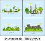 summer time background set in... | Shutterstock . vector #489199975