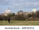 Small photo of Royal Observatory, Greenwich, London, UK. Left: Altazimuth Pavilion, Flamsteed House, with red time ball on top. Centre: Meridian Building. Right: Great Equatorial Building, with 28-inch Telescope