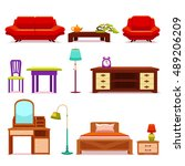hotel furniture set with sofa... | Shutterstock .eps vector #489206209