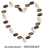 coffee bean heart | Shutterstock .eps vector #489208369