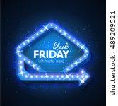 black friday sale retro light... | Shutterstock .eps vector #489209521