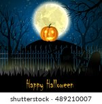 halloween spooky background | Shutterstock .eps vector #489210007