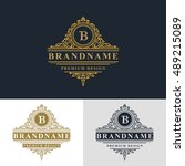 monogram design elements ... | Shutterstock .eps vector #489215089